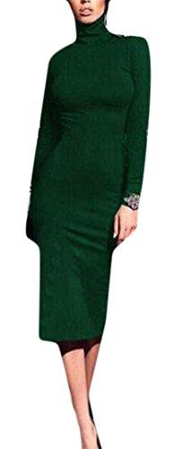 Bodycon Lungo Di Classica Dreess Womens Collo Manica Matita Solido Alto Verde Cruiize Colore zpg8wanqU