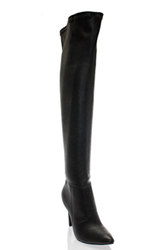 Breckelle's Beverly-16 Women Faux Suede Pointy Toe Stiletto Heel Over The Knee Thigh High Boot,Black Pu,7