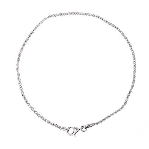 925 Sterling Silver 2.00 mm Spiga-Wheat Bracelet Chain With Pear Shape Clasp-RHODIUM FINISH (Link Spiga)