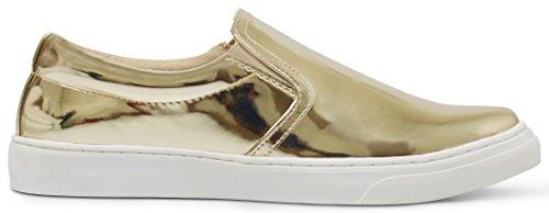 Marco Republic Saint Petersburg Metallic Slide In Fashion Sneakers - (Gold Metallic PU) - 8