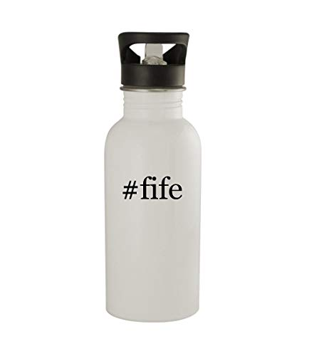 Knick Knack Gifts #fife - 20oz Sturdy Hashtag Stainless Steel Water Bottle, White