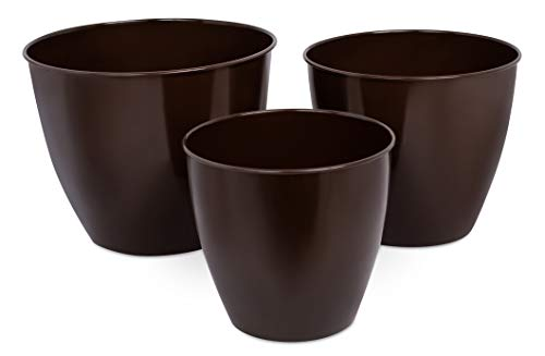 BirdRock Home Modern Planter Pot for Indoor or Outdoor Plant Flower | Flowers Plants Trees Porch Garden Pots | Rust and Weather Resistant (Set of 3 - Small, Medium, Large, Bronze)