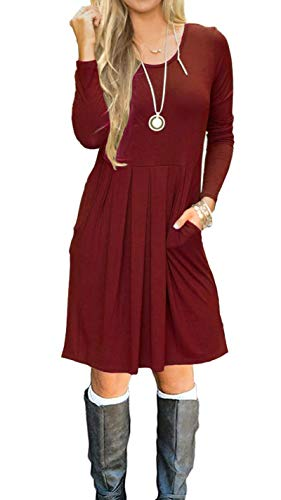 AUSELILY Women's Long Sleeve Pleated Loose Swing Casual Dress with Pockets Knee Length (XS, Wine Red)