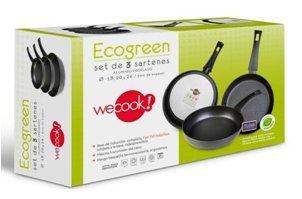 Wecook 10333 Set 3 sartenes Aluminio prensado Ecogreen 18-20 - 24 cm