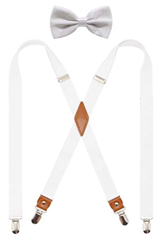 Timiot Mens Suspender and Bowtie Set X Back Heavy Duty Adjustable Elastic Clips Perfect For Work &Casual (White) -
