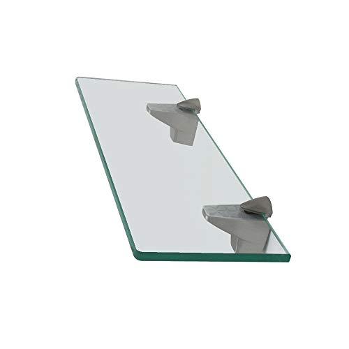 XVL 14-Inch Bathroom Glass Shelf, Brushed Nickel GS3004A-G by XVL
