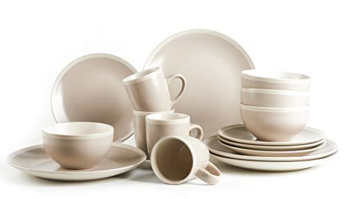 HomeVss Rock Ridge Speckled Stoneware Dinnerware Set (16pc Set, Sands and Ivory)
