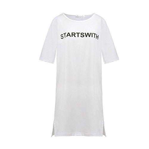 Casuale a Maglietta Collo Bianca1 Shirt Moda T Manica Corta Midi Stampa Abito 1986 Rotondo Donna Lettera Dooxii Estivi Vestito wq0vav