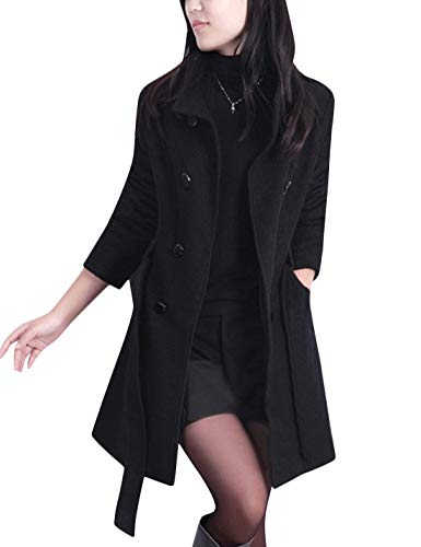 Tanming Womens Winter Casual Lapel Wool Blend Double Breasted Pea Coat Trench Coat (Black, Medium)
