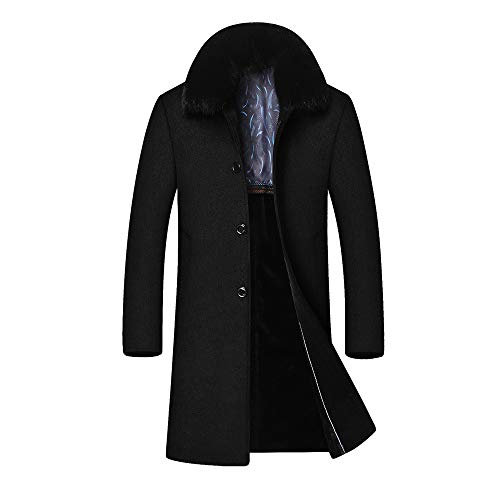 Pandaie-Mens Product Men's Winter Casual Long Hair Collar Cashmere Woollen Cotton Windbreaker ()