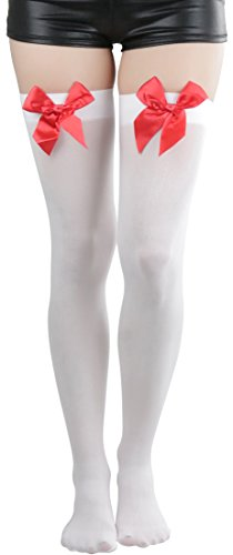 (ToBeInStyle Women's Opaque Thigh Hi Stocking With Bow - White With Red Bow)