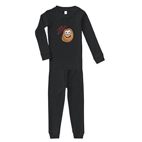 Crib Potato Cotton Long Sleeve Crewneck Unisex Infant Sleepwear Pajama 2 Pcs Set Top and Pant - Black, 24 Months
