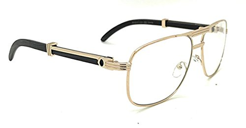 CY SUN Men Retro CLASSY Style Clear Lens EYE GLASSES Wood Buffs Square Gold Frame (Black, - Glasses Buffs The