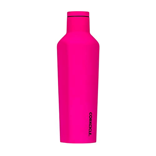Corkcicle Canteen Neon Lights Collection - Triple Insulated Stainless Steel Travel Mug, Neon Pink, 16oz