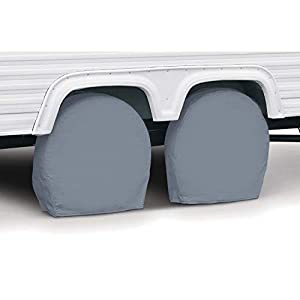 "Classic Accessories OverDrive Standard RV & Trailer Wheel Cover, Pair, Grey, (For 18"" - 21"" diameter tires, up to 6.75"" wide)"