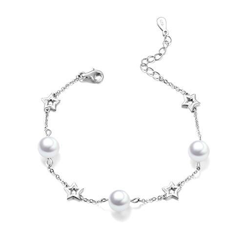 POPLYKE Star Bracelets Sterling Silver 8mm Pearl Adjustable Chain Bracelet for Women Girls 6.5