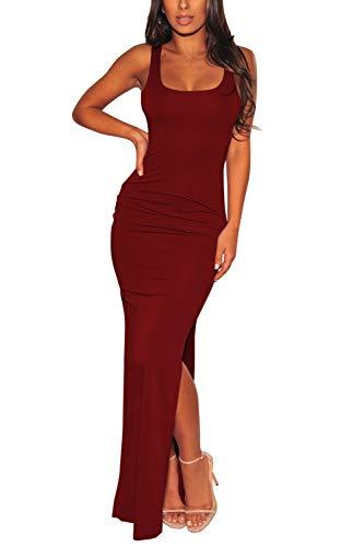 Womens Sleeveless Solid Casual Side Split Bodycon Long Tank Top Dress Ruby M ()