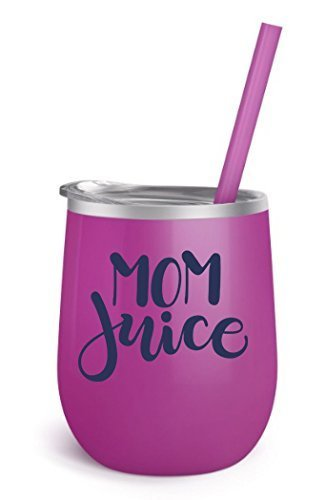 Funny Quotes Wine Tumbler 12 oz Stainless Steel Wine Tumbler Sippy Cup with Lid and Straw (Mom Juice - Magenta BevSteel)