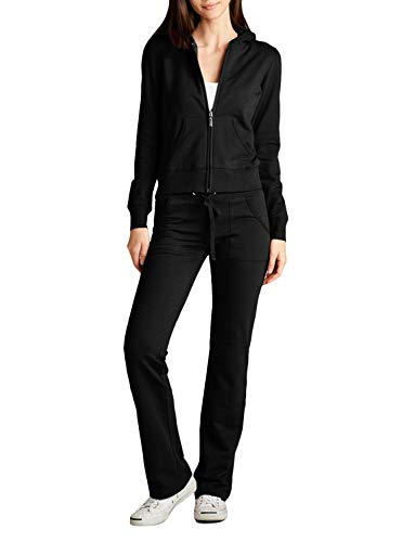 NE PEOPLE Womens Hoodie and Sweatpants Tracksuit Set , Newts01-black , Small
