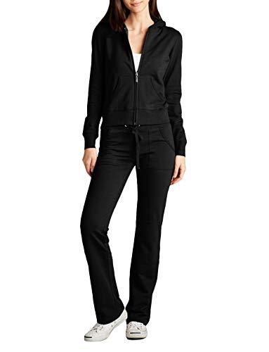 - NE PEOPLE Womens Hoodie and Sweatpants Tracksuit Set , Newts01-black , Small