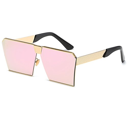 Flat Square Top Frame Metal Pink Sunglasses Oversized Sunglasses CVOO xOwFpC6qw