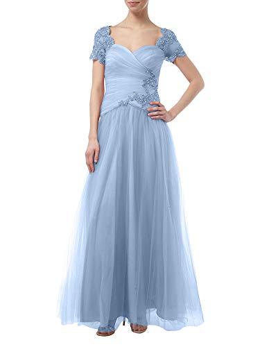 Blau A Festlich Braut Rock Brautmutterkleider mit Tuell Linie Spitze Prinzess La Marie Himmel Rosa Festlichkleider Kurzarm a1wffZq