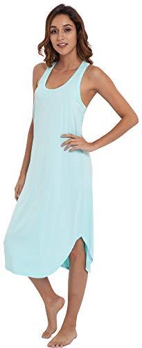 NEIWAI Women's Sleep Dress Long Bamboo Viscose Nightgowns Sleepwear Aqua Green XL