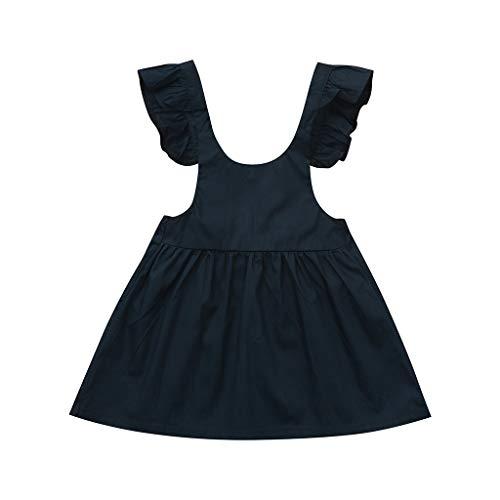 Waymine Summer Kids Baby Girl Fly Sleeve Solid Strap Back Skirt Princess Dresses ()