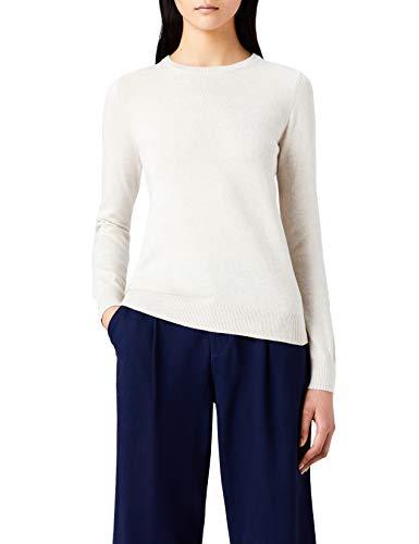(MERAKI Women's Cotton Crew Neck Sweater,  Beige (Linen), XS (US)