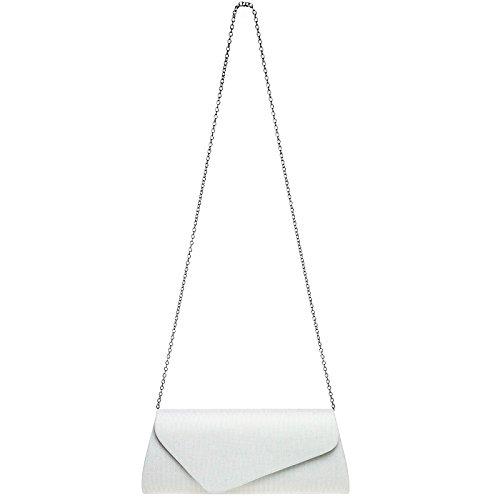 Bag Flap Evening elegant Envelope Ladies White Caspar Glitter Clutch Asymmetrical Ta394 With Wcq0cUBv