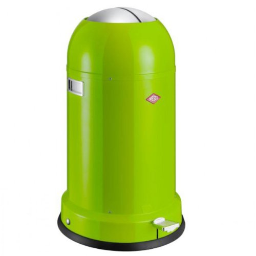Lime Green Powder - Wesco Kickmaster Classic-German Designed-Step Trash Can, Powder Coated Steel, 8.7 Gallon/33 L, Lime Green