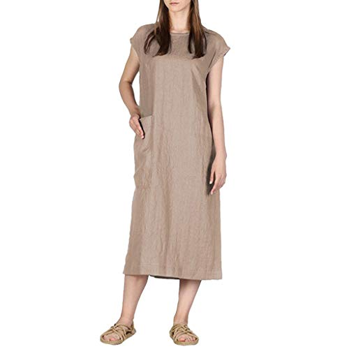 iPOGP Dresses for Women Cotton Plain Split Dress Summer Casual Loose Round Neck Short Sleeve Dress (Brown,XXL) ()