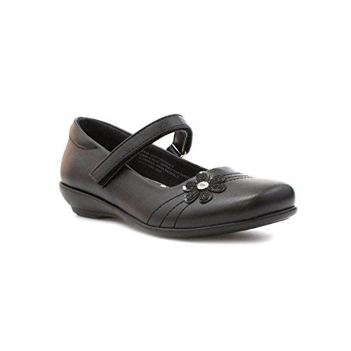 Walkright Girls Black Shoe with Flower - Size 3 UK - Black