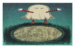 Ambesonne Ghost Doormat, Sketchy Doodle Design with a Funny Kid in a Ghost Costume for The Halloween Holiday, Decorative Polyester Floor Mat with Non-Skid Backing, 30 W X 18 L Inches, Multicolor ()