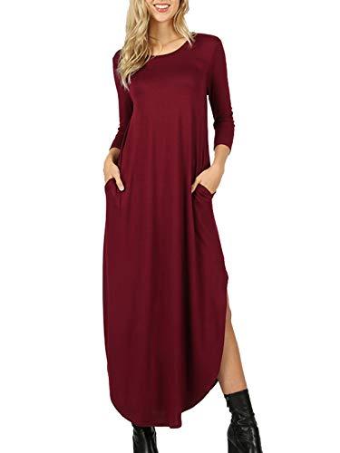 (MixMatchy Women's 3/4 Sleeve Side Slit Long Maxi Dresses Dark Burgundy)
