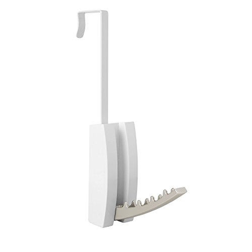 Umbra Flip Valet Wall Mounted or Over-The-Door Modern, Sleek, Space-Saving Hook, Holds Multiple Hangers for Organizing Clothes, White (Bath Wall Valet)