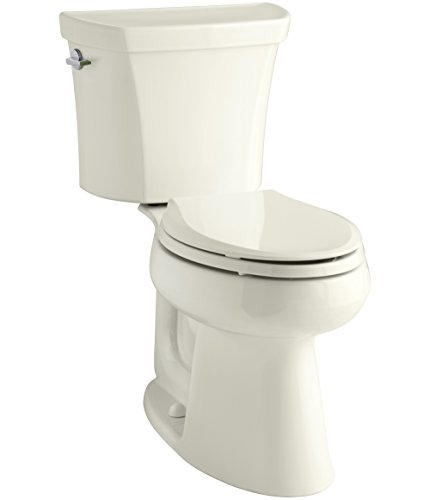 Wellworth Elongated Comfort Height Bowl - KOHLER K-3989-96 Wellworth Highline Two-Piece Dual-Flush Elongated Toilet with Class Five Flush System and Left-Hand Trip Lever, Biscuit