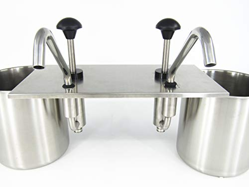 KUNHEWUHUA 2 Bucket Sauce Dispenser Pump Stainless Steel Condiment Pump Station for Salad Jam Seasoning Sauce Squeeze 2 gal (2 Bucket) by KUNHEWUHUA (Image #4)
