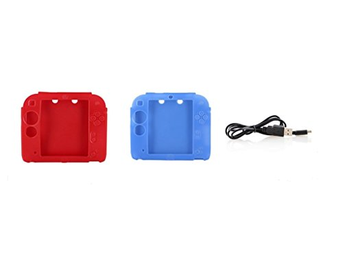 1 pc Blue Soft Silicone case for Nintendo 2ds +1 pc red Soft Silicone case for Nintendo 2ds + 1 pc USB Charging Cable for Nintendo 2ds