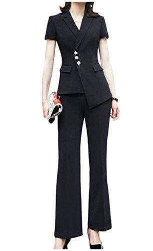 フリンジめる敬意を表するAngelSpace 女性の摘葉フレアオフィスブレザージャケット2ピースセットスーツコートパンツ