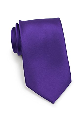 (Bows-N-Ties Men's Necktie Solid Color Microfiber Satin Tie 3.25 Inches (Regency Purple))
