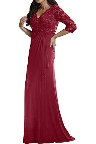 Partykleider 3 Sommer 4 Brautmutterkleider Festlichkleider mia Etuikleider Abendkleider La Langarm Weinrot Kleider Chiffon Spitze Braut vE477qAw