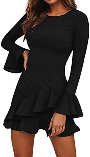 camicetta donna_MEIbax MEIbax Vestiti da Donna Eleganti/Abito Lungo Elegante Donna/Abito Tinta Manica Lunga/Mini Abito Casual Sciolto/Vestito Donna Estivo Corto