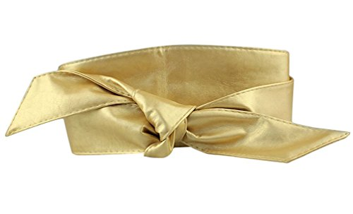 SportsWell Women Soft Pu Leather Self Tie Bowknot Band Wrap Around Obi Belt (Delicate Leather)