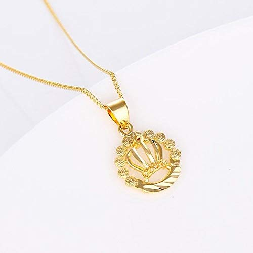 Womens Crown Pendant Necklace 18k Yellow Gold Filled 18Link Fashion Gift