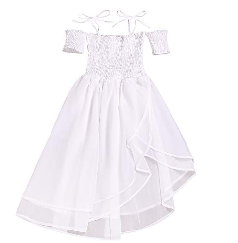 Baby Girls Tulle Princess Dress Toddler Off Shoulder Lace Pleated Dress Summer Vest Sling Beach Sundress for 1Y-6Y White