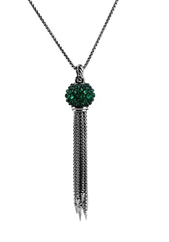 - David Yurman Osetra 17 mm Cable Berries Faceted Gemstones & Sterling Silver Tassel Necklace Large Green Onyx 37N