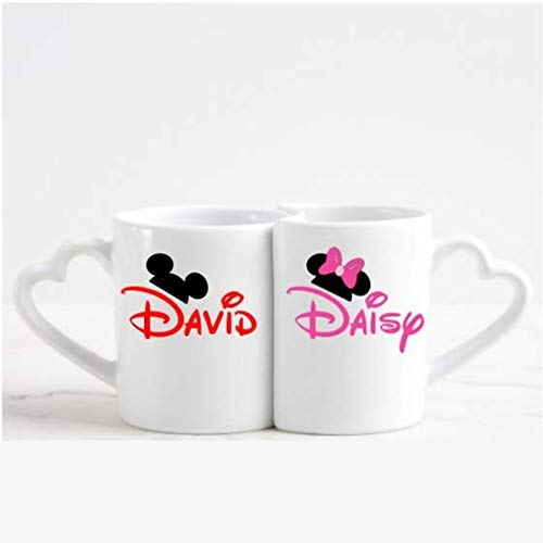 Personalized Mickey and Minnie Mouse Ears Couple's Mug Gift Set with Heart-Shaped Handle ()