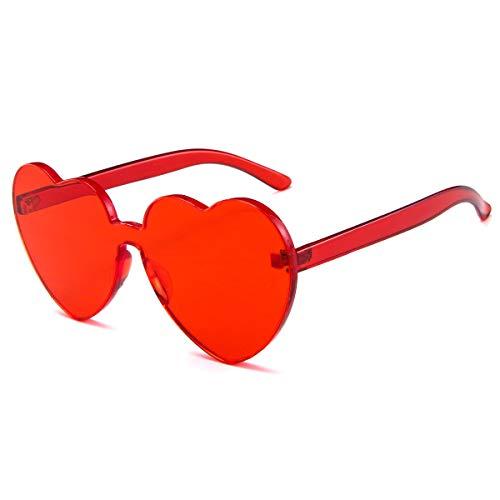 Dollger Heart Shape Sunglasses One Piece Transparent Rimless Candy Color Glasses