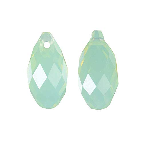 (Swarovski Crystal, 6010 Briolette Pendants 11x5.5mm, 2 Pieces, Chrysolite Opal)